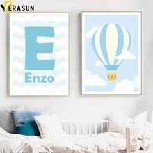 VERASUN Letter Luchtballon Muur Canvas Schilderij Nordic Poster En Print Cartoon Muur Pictures Voor Kinderkamer Home Decor