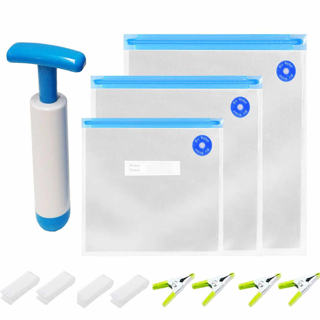 ISHOWTIENDA Storage Bag 3 Sizes Sous Vide Bags Set BPA Free 30 Reusable Vacuum Food Storage Bags Organizer Bag Portable Case