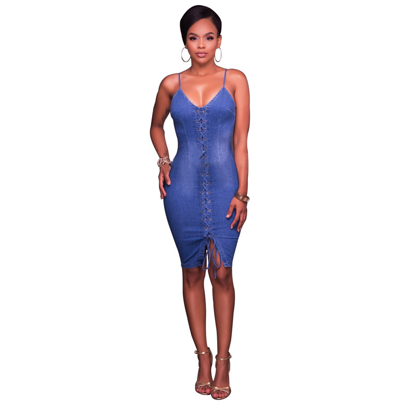 48f4c77ed4a Lace up Sexy Denim Dresses Women Summer Spaghetti Strap Slim Bodycon  Stretch Blue Jeans Dress Night out Club Party Outfits 2018-in Dresses from  Women s ...