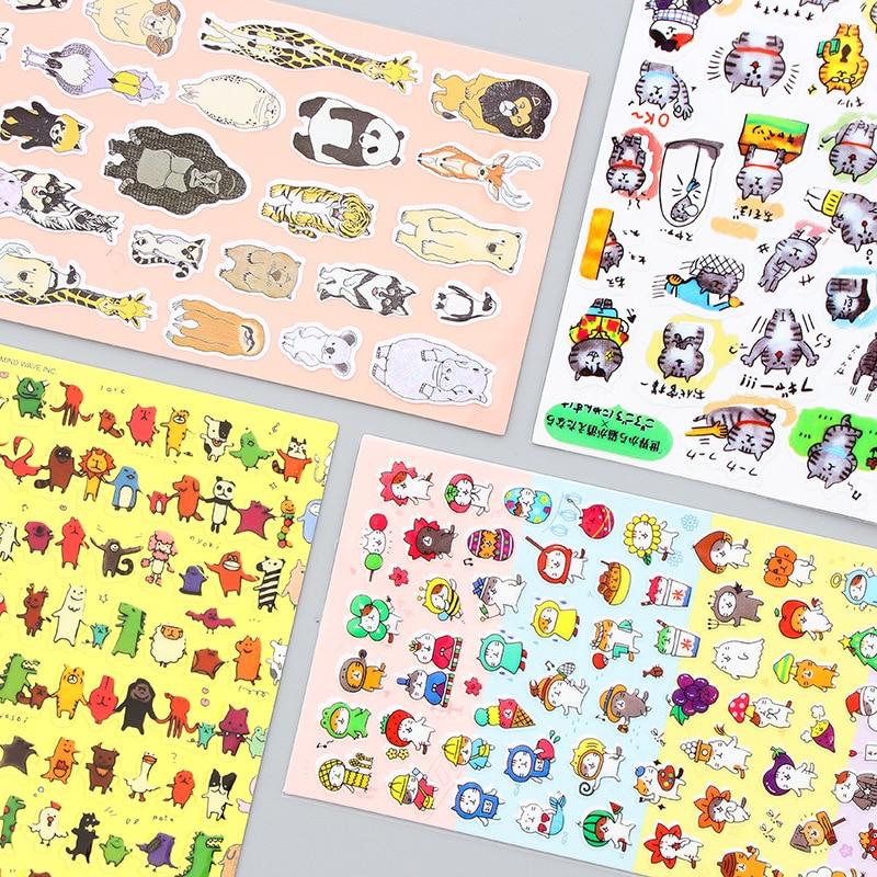Creative Stationery Stickers Cartoon Animal Cat PVC Waterproof Cute Home Decor Computer Decorative DIY Luggage Sticker Kid's Toy