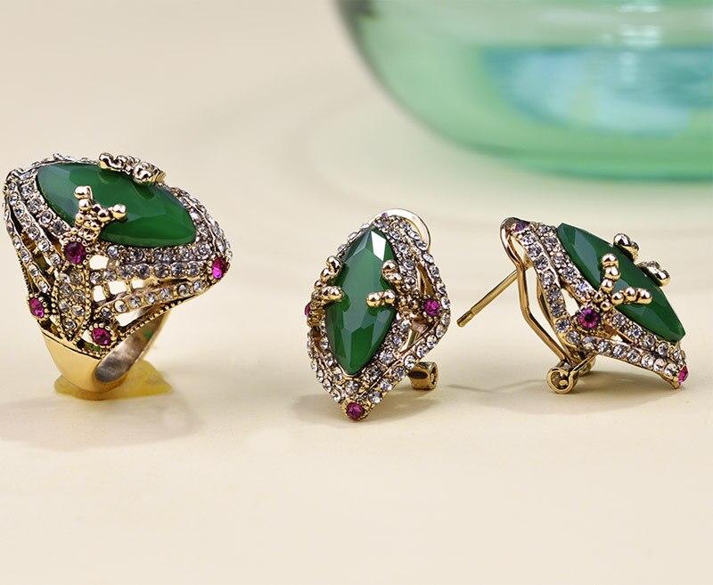 2015 New Luxury Big Emerald Ears Earrings Piercings Brincos ...