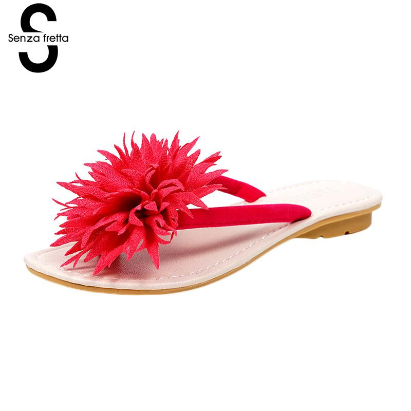 Summer Flowers Flip Flops Beach Sandals Flat With Cool Shoes Flat-bottomed Casual People Wild Leisure Flip Flops Women Shoes