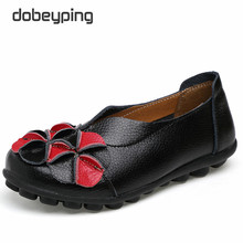 Women's Casual Shoes Leather Woman Flats Flowers Ladiesr Loafers Soft Driving Footwear Solid Female Boat Shoe Large Size 34-44