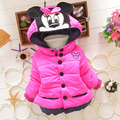 Free shipping!New Children Winter Outerwear Girls Cartoon Minnie Coat Baby Plus Thick Wool Cotton Jacket 4 colors 0-2 years