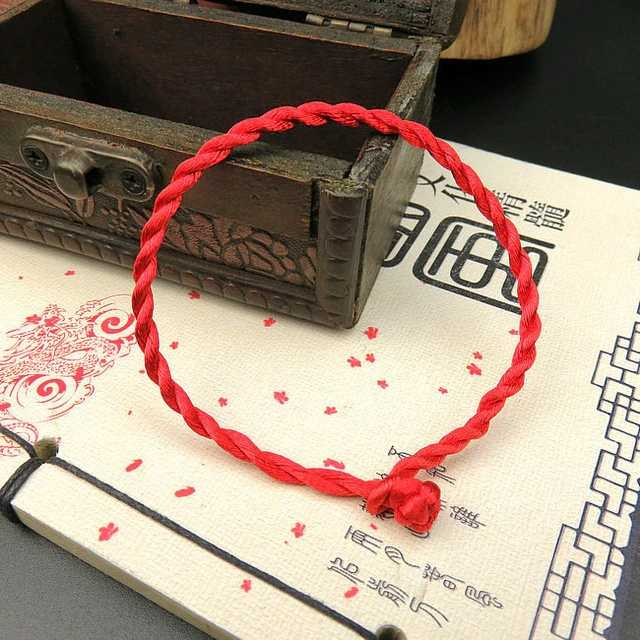 1 PCS Fashion Red Line Lucky Red Handmade Rope Chain & Link Bracelets for Women Men Jewelry Lover Couple