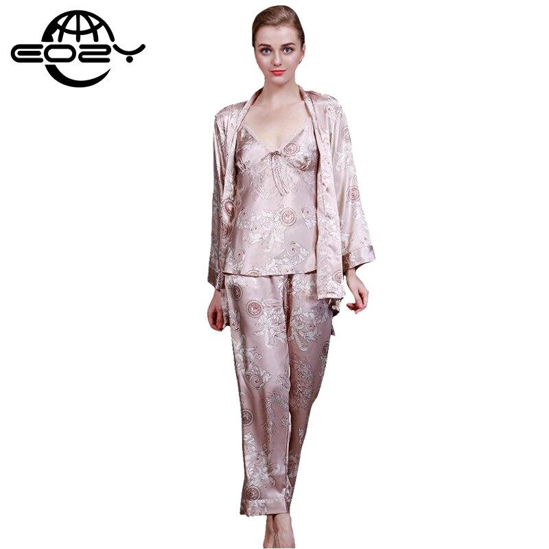 7b294f6aef82 Женщины Сексуальное Имитационные Шелковые Ткани Пижамы 3 Шт. Наборы Дракон Печати  Пижамы Пижамы Loungewear Леди Ночное Ночная Рубашка купить на
