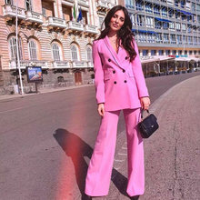 Fandy Lokar Pink Sexy V Neck Suit Jacket Women Fashion Long Sleeve Suit Women Elegant Tailored Collar Jacket Suits Female Ladies(China)