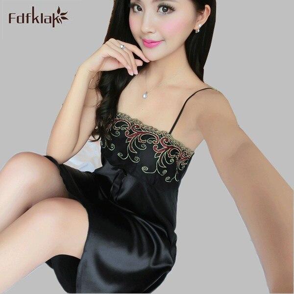 f4090ab213 2016 verano nueva moda mujer Noche del satén vestido de noche Camisas para  las mujeres señoras del vestido de seda del satén m L XL e554