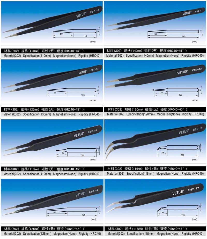 VETUS BGA de Precisão ESD pinça anti-estática de aço inoxidável SMD retrabalho de solda ferramentas manuais