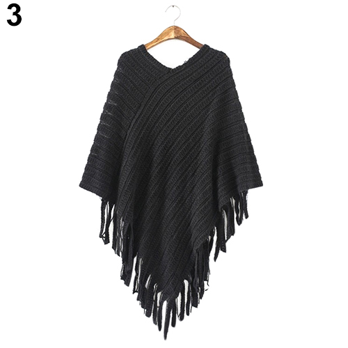 New 2016 New Women's Knit Warm Batwing Cape Tassels Poncho Cloak Jacket Coat Winter Outwear 4 Colors