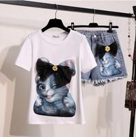 2019 Summer fashion 2 Pieces Jeans Suits Women Cat Print Cotton T Shirts Bow T shirt + Denim short Pants Sets