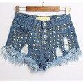 2017 Shorts Jeans Verão Buraco Jeans Curto Borla Mulheres Moda Cintura Alta Rebite de Metal Curto Femme Plus Size WSSL019