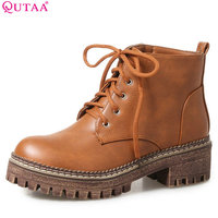 QUTAA 2018 Women Fashion Lace Up Ankle Boots Spring And Autumn Grey Square Heel Round Toe