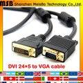 Максимальная скорость 1.5 м 5ft позолоченный кабель VGA DVI переключатель монитор сигнала DVI 24 + 5 до VGA кабель для ТВ DVD проектор