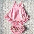 Розничная розовый цветочные качели вверх назад установленный рюшами шаровары установить 2014 розничная новорожденных девочек одежда бесплатная доставка