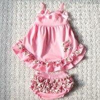 Floral rosa varejo parte superior do balanço traseiro set bebê ruffle bloomers definir 2014 retail bebê meninas roupas frete grátis
