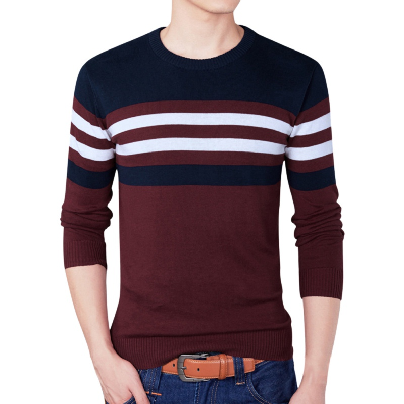 Men Cotton Stripe Contrast Color Round Neck Long Sleeve Knit Regular Fit Pullover Sweaters F3