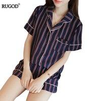 2017 New Arrivals Women Pajamas Set Sweet Stripes Sleepwear 2 Two Piece Set Short Leeve Shirt