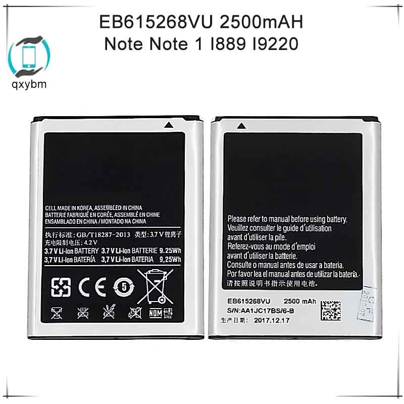 For Samsung For Galaxy Note 1 N7000 I9220 I9228 I889 I717 E160K EB615268VU Edition Version Replacement Battery 2500mAhFor Samsung For Galaxy Note 1 N7000 I9220 I9228 I889 I717 E160K EB615268VU Edition Version Replacement Battery 2500mAh
