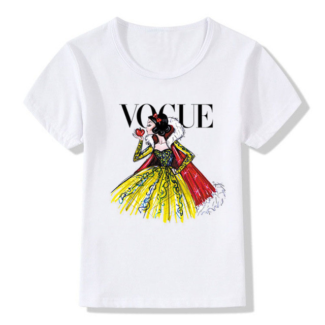 Baby girl summer clothes 2018 Fashion Lolita Vogue Beauty Print T shirt For Child Sweat Girls O-neck Tshirt Top Short Sleeve