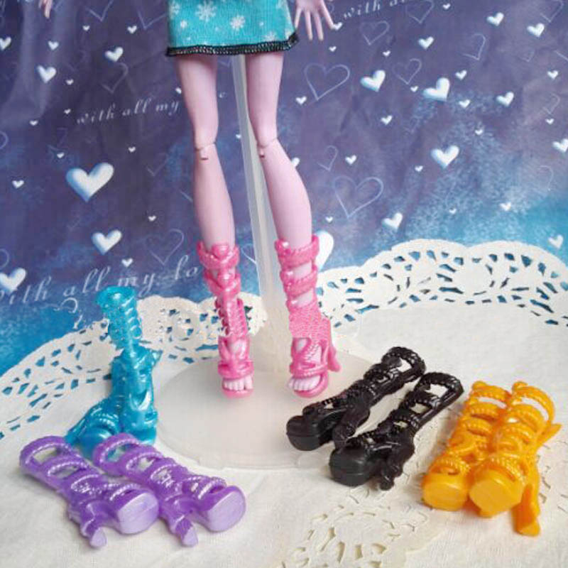 5pairs/lot 2016 New Fashion Shoes For Monster High Dolls High Quality High Heel Boots Shoes Doll Accessories Kids Toy 500pairs lot wholesale high quality high heel shoes for 30cm dolls mixed styles sandals slippers 10pairs pack doll shoes pack