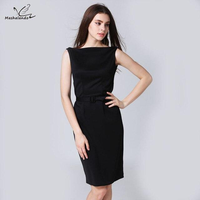 Sleeveless Black Slash Neck Dresses Ladies Work Dress Pencil Dresses