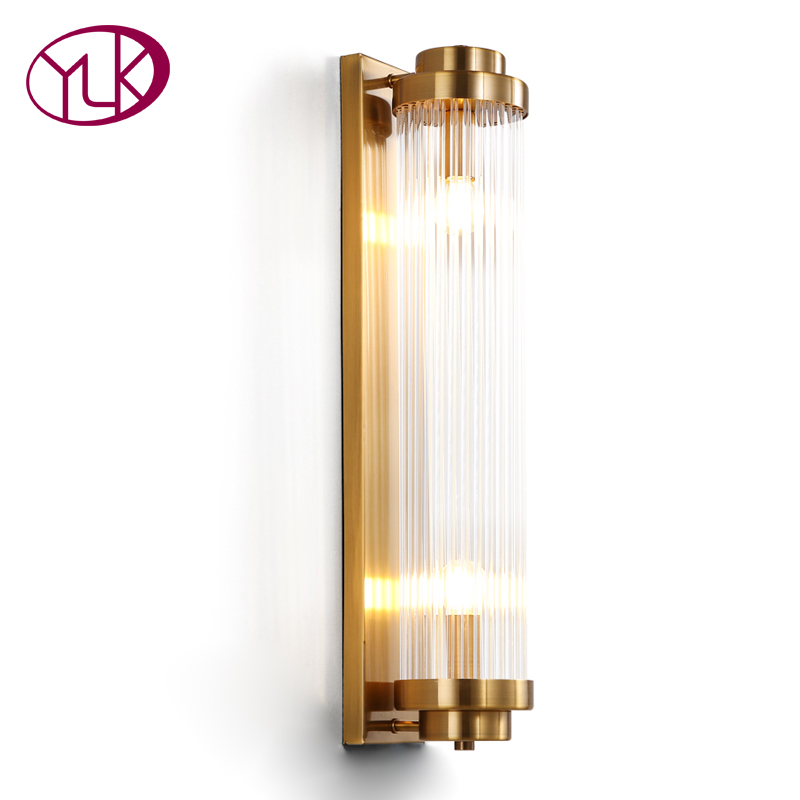 Gold bronze Wall Sconce Lighting For Bedside Luxury Glass Lampshade LED Wall Lamp AC110 240V Indoor