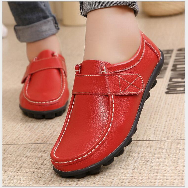 Spring Genuine Leather Middle Aged Women Single Shoes