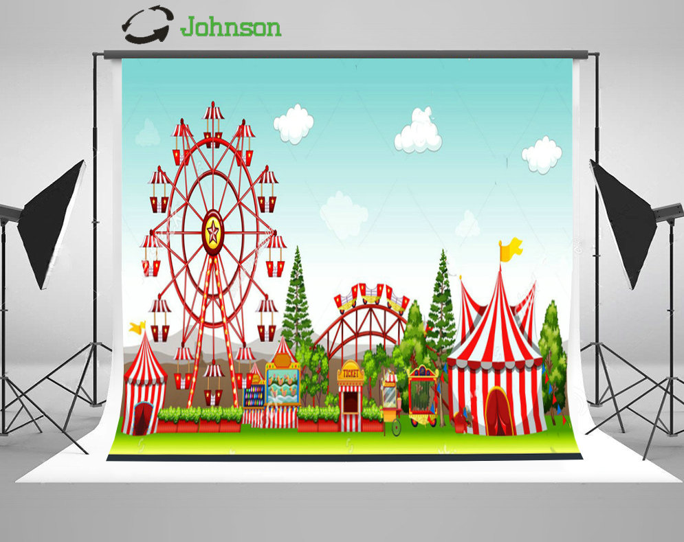 Amusement Park Circus Tent Carnival Tree Blue Sky Clouds backdrop polyester or Vinyl cloth Computer print wall background