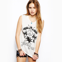 Summer Fashion 2016 New Women O Neck Flower Birds Print Sleeveless Casual T Shirts White T