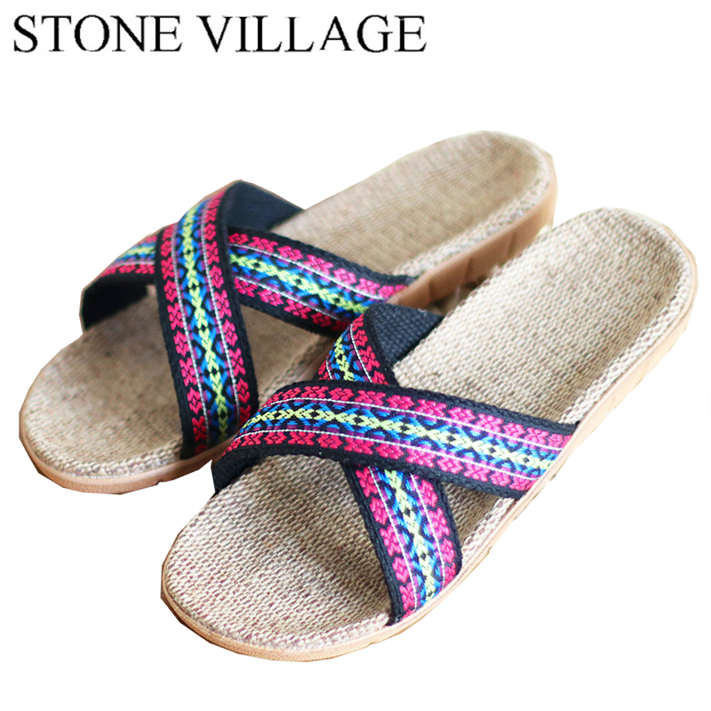 High Quality  New Summer Home Slippers Indoor Shoes Flax Slippers Non-Slip Bohemian Lovers Men Women  Slippers  Size 35-45 xiuteng 2017 summer leather men slippers home indoor flat with shoes european high grade non slip floor sandals for men