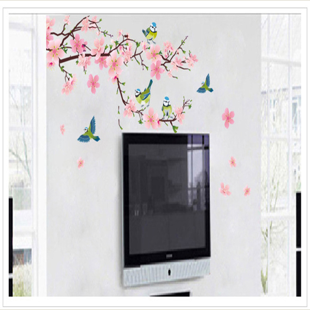 Romantic Peach Blossom PVC Wall Sticker