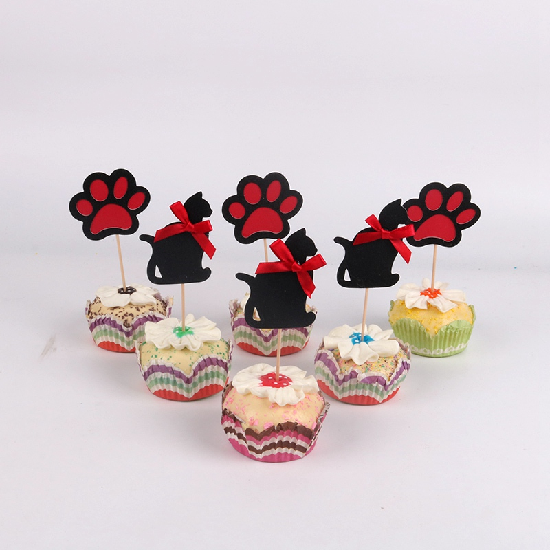 6pcs/lot Halloween <font><b>black</b></font> <font><b>cat</b></font> elf Cupcake <font><b>Toppers</b></font> Picks Birthday Party Decoration Kids Shower Boy Favors <font><b>Cake</b></font> Decorating image