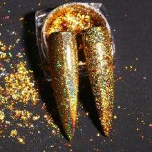 Blueness 0,2 г/кор. голографический лазер, золотой зеркальный блеск для ногтей, порошок для ногтей, блестки, хлопья, украшения для ногтей, пылезащитный пигмент
