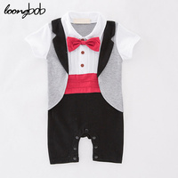 Baby Boys Gentleman Rompers Toddlers Red Bow Tie Jumpsuit Newborn Tuxedo Infant Short Sleeve One Piece
