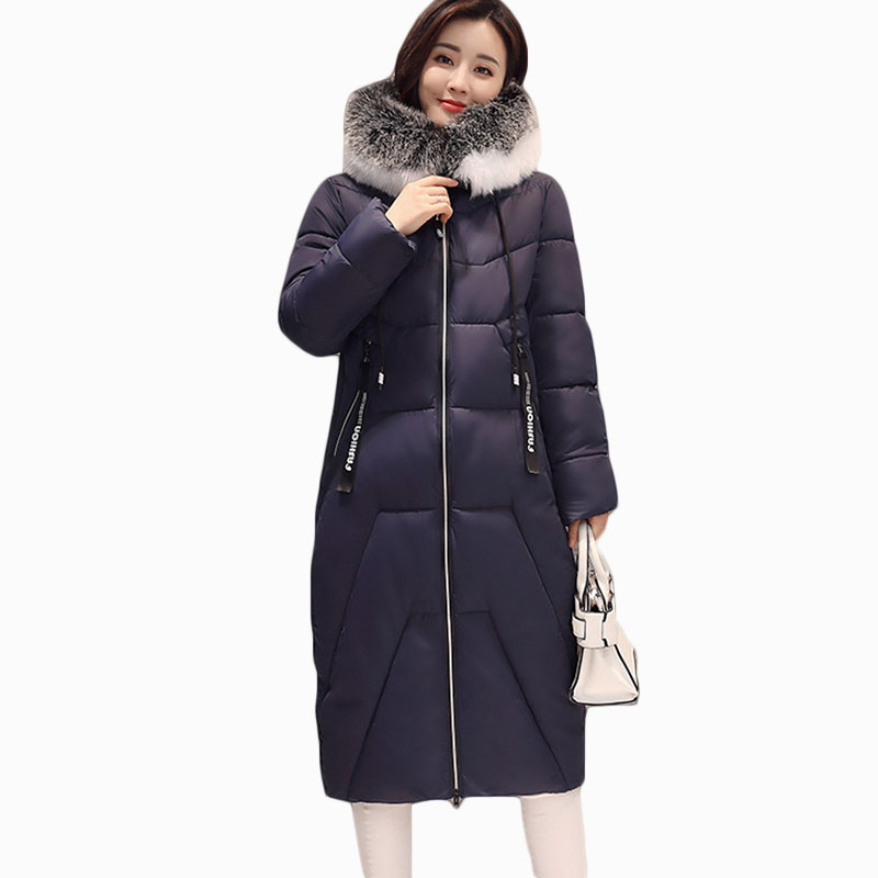 2017 NEW WOMEN WINTER JACKER MID-LENGTH LARGE FUR COLLAR HOODED WARM FEMALE PARKA COTTON WADDED COAT HIGH QUALITY ZL610