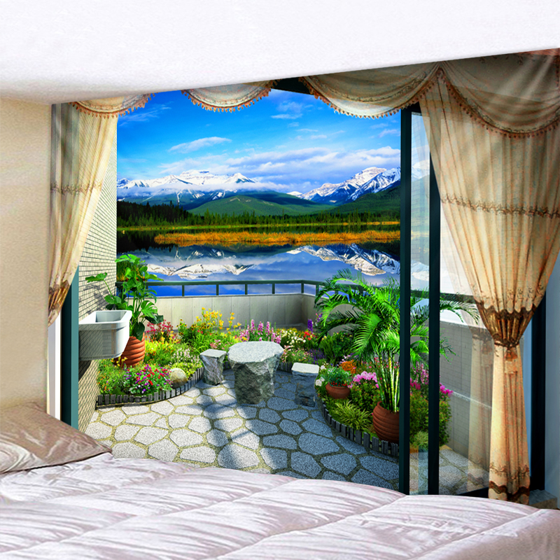 Landscape Scenery Bohemia Wall Hanging Tapestries Boho Tapestry Wall Carpet Photographic Background Cloth Living Room Blanket
