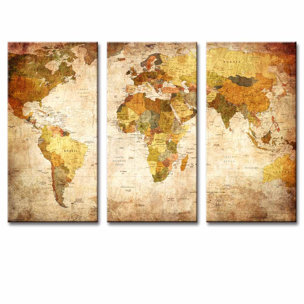 3 pcsset still life vintage world maps painting wall art picture 3 pcsset still life vintage world maps painting wall art picture classic map canvas print wall paintings for home decoration in painting calligraphy from gumiabroncs Choice Image