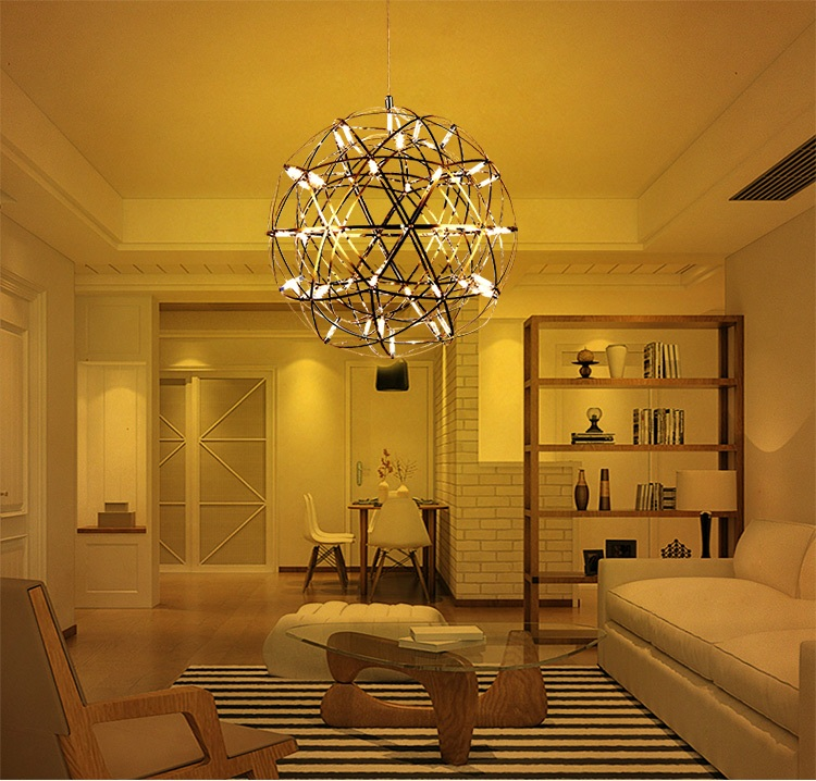 Stainless steel LED fireworks lamp ball LED fireworks lamp ball chandeliers lighting restaurant villas hotel project lighting led fireball chandelier lamp creative personality iron restaurant hotel arcade planet fireworks chandeliers dia 50cm ac220v