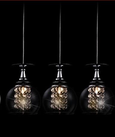 Wineglass Wine Glass pendant Light 1/3 heads lamps Modern Crystal Glass Clear Lamp bedroom dining room fixture gift free shipping 3 lights dining room glass pendant light tready wine cup crystal pendant lamp led lamps bar kitchen glass light