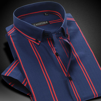 Summer 2016 Mens Contrast Double Stripe Short Sleeve Dress Shirt 100 Cotton Comfort Soft Casual Slim