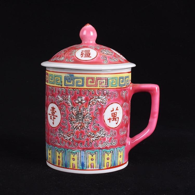 Jingdezhen chino tradicional cerámica azul y porcelana blanca taza de té rojo/azul/amarillo con tapa Drinkware 300ml