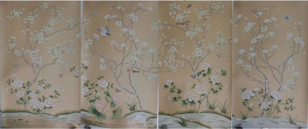Hand-painted silk wallpaper painting Magnolia with Flower/birds hand painted wall paper TV/sofa/bedroom/living room wallcovering iarts aha072962 hand painted thick texture of knife painting trees oil painting red 60 x 40cm