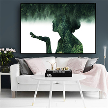 Abstract Scenery Forest Figure Painting on Canvas Posters and Prints Scandinavian Minimalist Wall Art Picture for Living Room