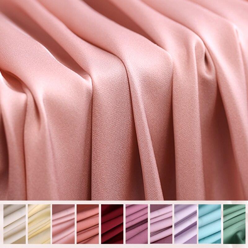 135 CM de large 19 MM couleur unie bleu violet vert Strech soie Spandex tissu pour Blouse robe Cheongsam pantalon DE1045