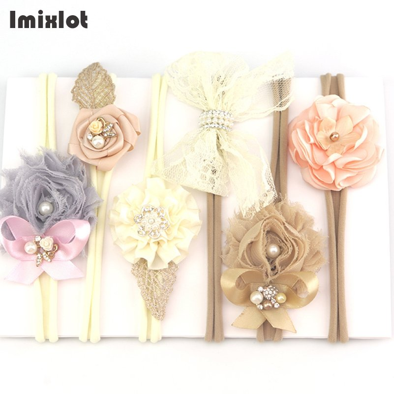3pcs/set Mix Style Simulated-pearl Ribbon Lace Flower Headband Baby Girl Headbands Elastic Hairband Children Hair Accessories children headbands baby headwear flower hairband pearl girl headband hair band princess accessories p239