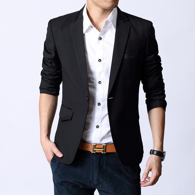 Os Recém-chegados 2016 Homens Ternos Smoking Dos Homens Casuais Jaqueta Slim Fit Blazer Preto Formal Vestido de blazer Homme
