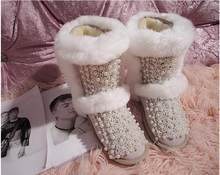 Original 2019 cute fairy leather rhinestone pearl three-dimensional flower rabbit fur snow boots cotton shoes boots(China)
