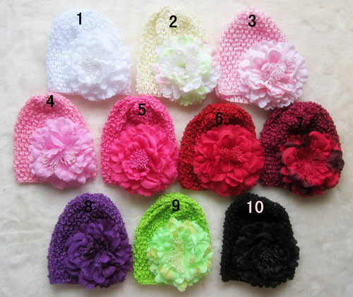 Free shipping 10pcs/lot wholesale knitting infant hat,cotton caps,high quality kufi hats,Kufi baby hats with daisy flower hat