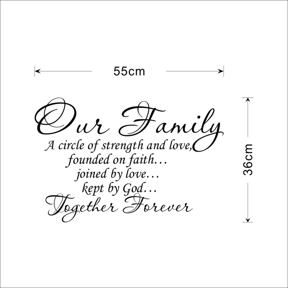 Our Family Together Forever Quotes Letter Pattern Design Pvc Wall Sticker Wedding Decoration Vinyl Mural